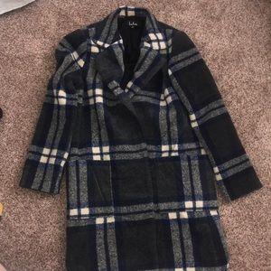 Lulu's blue plaid menswear-inspired coat Size S